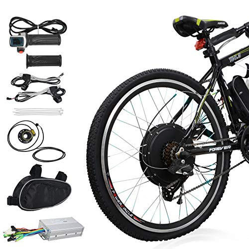 Voilamart Electric Bicycle Kit 26' Rear Wheel 48V 1000W E-Bike Conversion Kit, Cycling Hub Motor with Intelligent Controller and PAS System for Road Bike