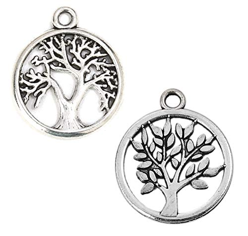 Tree of Life Charm Pendants, 96 Pack (48 of Each), 5/8 Inch Silver Tone