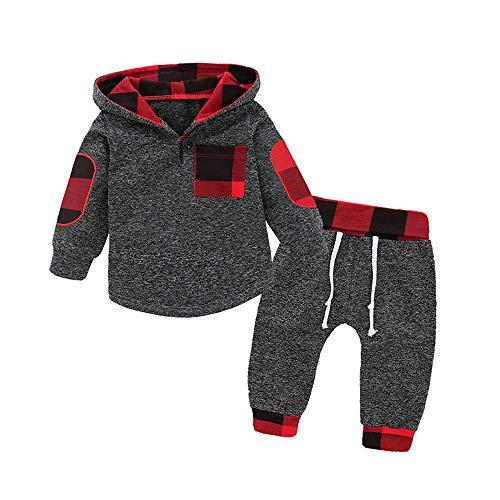 AmzBarley Juego de Pijama Niño Pantalones de Otoño e Invierno Dos Traje de Camisa a Cuadros con Costuras de Lana Rojo 2-3 Años