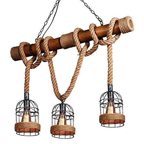 E27 vintage bamboehenneptouw hangende lamp-loft industrie antiek bamboe kroonluchter restaurant/woonkamer/keuken beddengoed hanglamp keuken woonkamer bar plafondlamp