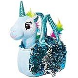 Little Jupiter Plush Pet Set - Unicorn Toys - Unicorn Stuffed Animal - Stuffed Animal for Kids - Plushie - Plush Toy - with Reversible Sequins & Charm (Light Blue)