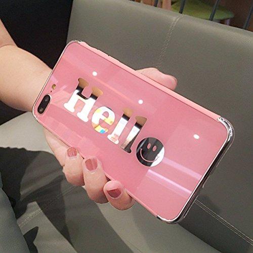 Etsue Espejo Funda iPhone 7 Plus,iPhone 8 Plus Carcasa Silicona Bling Brillante Brillar Brillo Espejo Reflejo Diamante Funda Pluma Dibujos Purpurina Metal Funda  Glitter Sparkle iPhone 7 Plus / 8 Plus