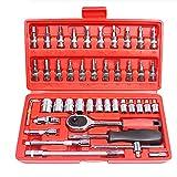 YWSZJ Conjunto de Caja de 46 Piezas de Herramientas de reparación de automóviles, automóviles de reparación de automóviles, Conjunto de zócalo de Llave de trinquete pequeño de Motocicleta
