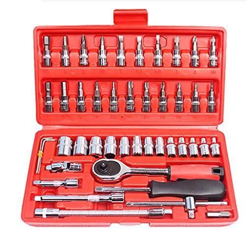 NXYJD Série de boîtes de 46 pièces d'outils de réparation de Voitures, Voiture de réparation Automatique, Moto Petite clé à cliquet sertie de Socket