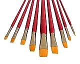 9 Künstlerpinsel Flachpinsel Flach Pinsel Set für Acrylfarben und Aquarellfarben