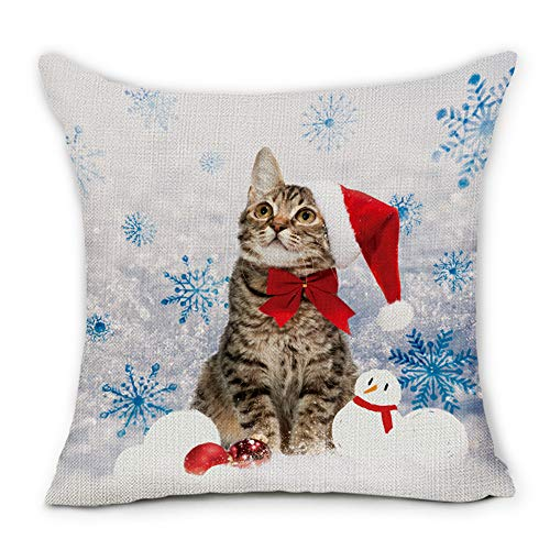 Colorful Christmas Cat Pillow Cover