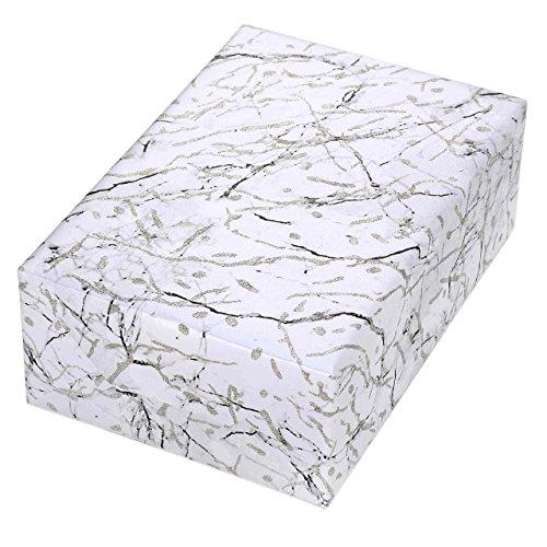 Geschenkpapier 3 Rollen, Motiv Naxos, trendiger Marmoreffekt auf einem Perlglanz weißen Fond mit gold-silberner, erhabener Glitter-Struktur. Für Hochzeiten, Geburtstag, Valentinstag. Edel+festlich.