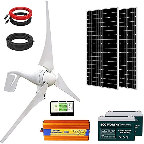 ECO-WORTHY 800W Solar Wind Power Kit: 1x 400W Wind Turbine + 2X 195W Solar Panel + 2X 100Ah Gel Battery + 1x 1500W Inverter for Home/RV/Boat/Farm/Street Light and Off-Grid Appliances