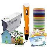 KreativKids 3D Stift + 40 x 5m PLA Filament 200 m. 3D Stifte. 3D Druck Stift inkl Vorlage, für Kinder und Erwachsene. PLA Filament [20 Farben x 10m Φ 1,75 mm]