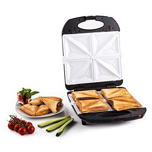 Klarstein Trinity 3 in 1 - Sandwich Maker, Sandwichtoaster, 3 austauschbare Heizplattenpaare, für bis zu 4 Sandwiches/Waffeln, 1300W Leistung, bis zu 180° aufklappbar, Fettablauf, schwarz