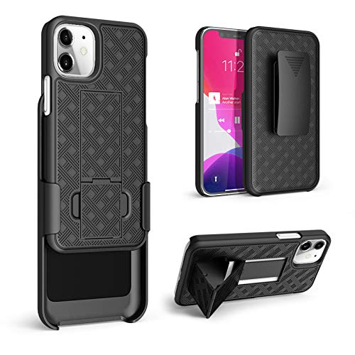 """HIDAHE Compatible with iPhone 12 Mini(5.4""""), Combo Shell & Holster Slim Shell Case for Men with Built-in Kickstand + Swivel Belt Clip Holster for Apple iPhone 12 Mini 5.4' 2020 ONLY, Black"""