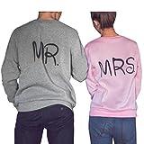 Bonjouree Sweat-Shirts Couples, Sweatshirt Manches Longues pour Femmes et Hommes Mr Mrs Pull Tops (S, Rose(Femme))