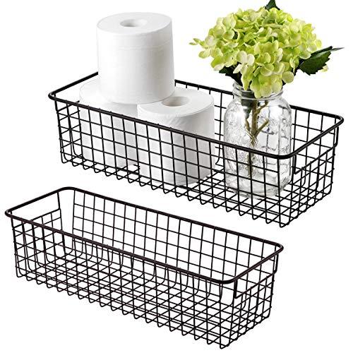 Farmhouse Decor Metal Wire Storage Organizer Bin Basket(2 Pack) - Rustic Toilet Paper Holder - Home Storage Organizer for Bathroom, kitchencabinets,Pantry, Laundry Room, Closets, Garage (Bronze)
