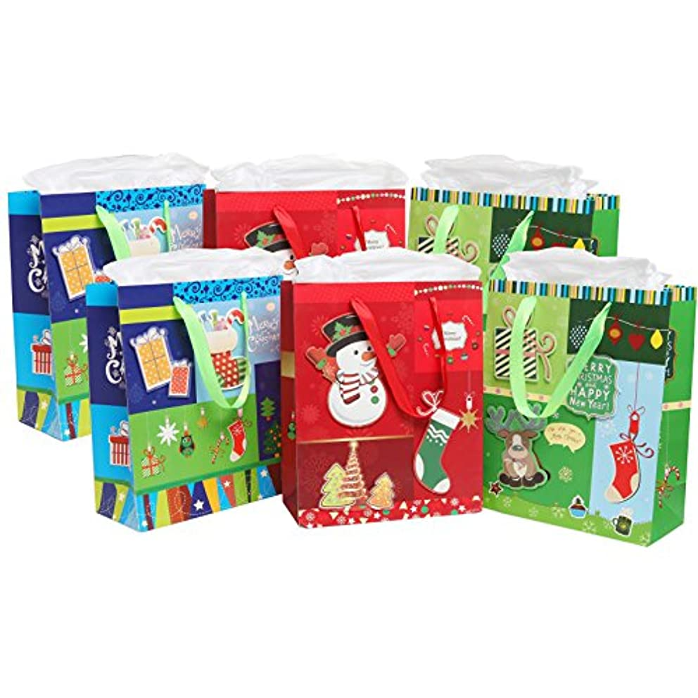 MyGift Merry Christmas/Happy New Year Holiday 3D Party Gift Bags and Tissues - Set of 6