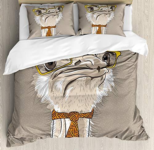 XOXUN Juego de Funda nórdica Indie, Sketch Portrait of Funny Modern Ostrich Bird con Lentes y Corbata Amarillos, Juego de Cama Decorativo de 3 Piezas con 2 Fundas de Almohada, Amarillo Beige