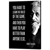"""WeiYang Inspirational Wall Art Canvas Painting Motivational Pictures Albert Einstein Quote Poster Prints Home Decor for Classroom School Office Dorm Bedroom Framed Ready to Hang - 24"""" Wx36 H"""