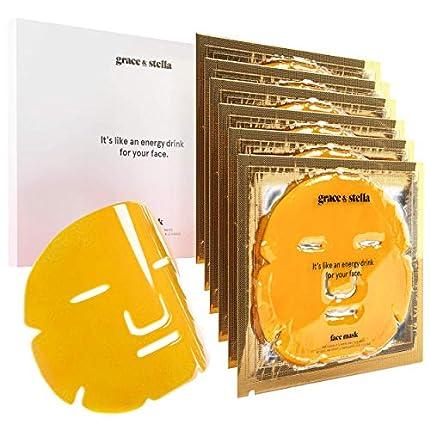 Máscaras revitalizantes y anti-arrugas Grace & Stella y de cara de oro - 24k Vegana - Máscaras de hidratación facial de oro para Anti-envejecimiento, Reafirmación (paquete de 6)