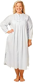 La Cera Women's Plus Size Pintuck Delight Blue Night Gown