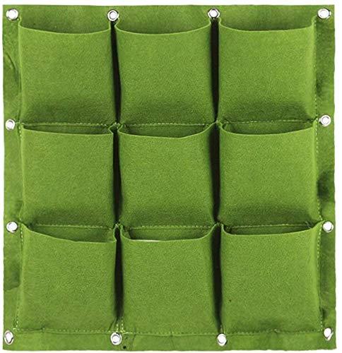 GOODGDN Bolsas para Plantar en la Pared, Plantador Verde Vertical del Crecimiento con 9 Bolsillos, Planta Que Cuelga Bolsos de la Flor Que Cuelgan para Balcón Pared de la Pared Jardín (Verde)