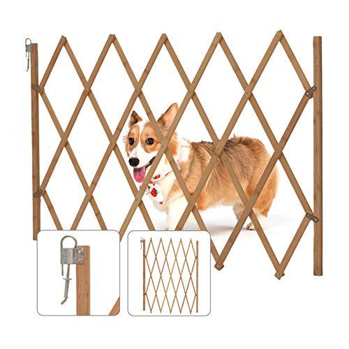 Trintion Türschutzgitter Treppenschutzgitter Hunde Hundeschutzgitter Welpenschutz-zitter Ausziehbarer Hundezaun Holz Breite verstellbar Durchgangsbreite 60-108cm