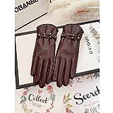 SPRRC Winter Lederhandschuhe Damen weiches Lammfell Gartenhandschuh elastisches Handgelenk for Männer und Frauen im Freien Arbeit Touch Screen Fäustlinge (Color : Braun, Größe : L)