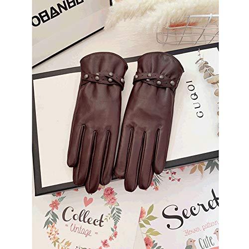 SPRRC Winter Lederhandschuhe Damen weiches Lammfell Gartenhandschuh elastisches Handgelenk for Männer und Frauen im Freien Arbeit Touch Screen Fäustlinge (Color : Braun, Größe : M)
