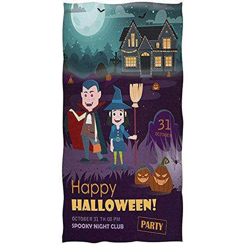 Dliuxf Happy Halloween Witch Vampire House Full Moon Pumpkin Toalla de baño Suave Toallas de Mano absorbentes Baño