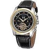 Excellent Reloj Masculino para Hombre Reloj mecánico automático para Hombres Calendario analógico Negocio Reloj de Pulsera Casual con Correa de Cuero Dial Redondo,A03