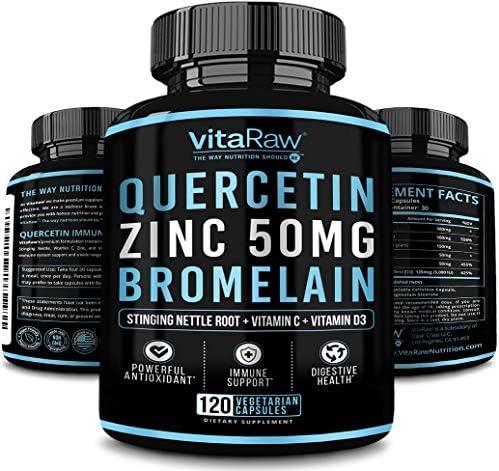 Quercetin 500mg Supplement Zinc 50mg Vitamin C Vitamin D3 for Immune support A Zinc Quercetin product image