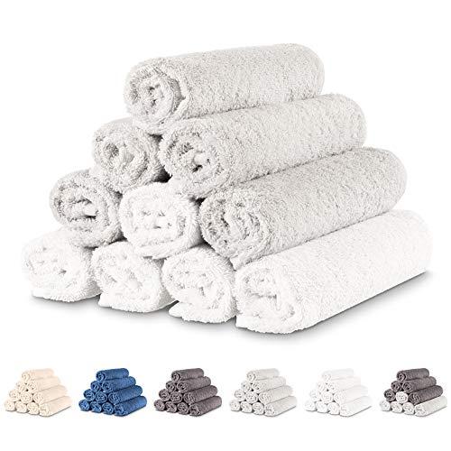Twinzen - 10 x Pequeñas Toallas de Mano 30x50 cm. Dúo Blanco & Gris. Toallas de Baño para Mano, Esponja, Set de Baño, Juego de Toallas de Mano, pequeñas Toallas de Mano para el Lavabo