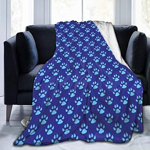 Manta de Microfibra Ultra Suave, Estampado de Patas de Perro, Fondo Azul, Borde Cosido, Mantas acogedoras, Alfombra térmica portátil de Felpa para sofá Cama