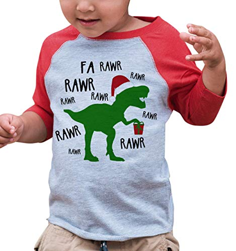 7 ate 9 Apparel Kids Christmas Dinosaur Raglan Shirt Red 3T