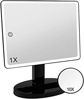 Large Lighted Vanity Makeup Mirror (X-Large Model)- 3 Color Lighting Modes Light Up Mirror with 44 LED, 360° Rotation Touch Screen and 10X Magnification Tabletop Cosmetic Make Up Mirror (Black)