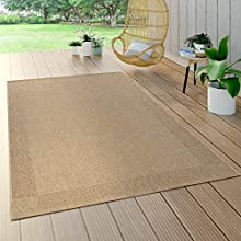 Paco Home Alfombra Interior Y Exterior Tejido Liso Efecto Sisal Aspecto Natural Monocolor Beige, tamaño:120x170 cm