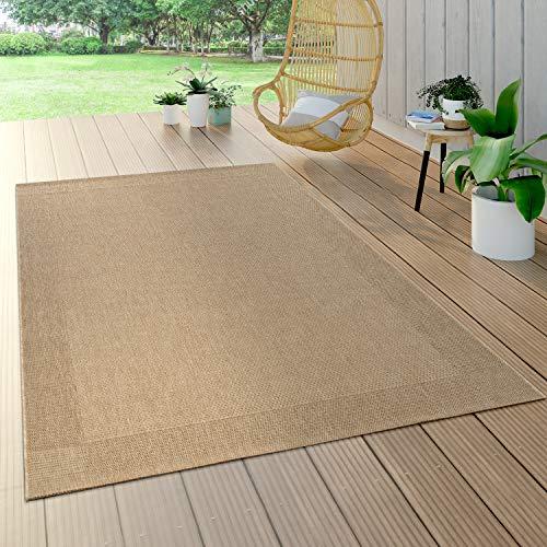 Paco Home Alfombra Interior Y Exterior Tejido Liso Efecto Sisal Aspecto Natural Monocolor Beige, tamaño:200x290 cm