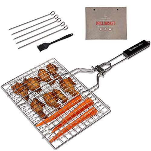 Grillmore Guys Grill Basket Set. Grill Baskets for Outdoor Grill, 5X BBQ Skewers and Silicone Basting Brush! 13x8.7 Fish Grilling Rack, Chicken Wing Rack, Kabob Grill Grid and Veggie Grilling Basket