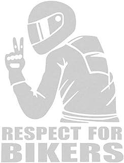 EROSPA® Aufkleber KFZ Auto Motorrad   Respect for Bikers   Car Sticker (Silber)