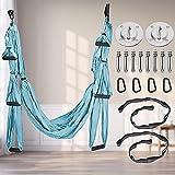 Kacsoo Columpio Aéreo De Yoga Columpio De Yoga Antigravedad Juego Completo De Hamacas De Yoga Aéreo Hamaca De Yoga Columpio-Entrenamiento Físico Gancho Mosquetón con Bordes Lisos (Azul)