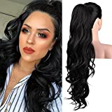 SEIKEA 26' Long Wavy Drawstring Ponytail for Black Women Natural Soft Clip in Ponytail Extension Synthetic Heat Resistant Hair Extensions Hairpiece Color Black