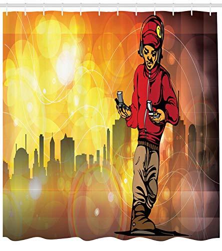 SRJ2018 Hip Hop Duschvorhang Rap Musik & Tanz Themen Bild mit einem Rapper Guy & der Skyline der Stadt Hintergr& Stoff Badezimmer Dekor Set mit Red Taupe