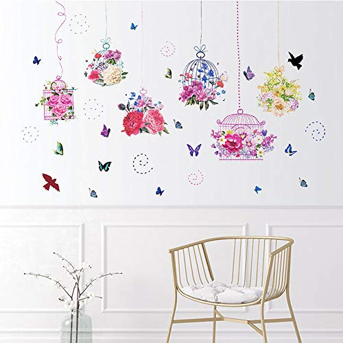 WEWINLE Colorful Plants Flower Wall Decals for Living Room Bedroom Butterfly Bonsai Wall Sticker DIY Mural Art Posters for Kids Room Wall Decor