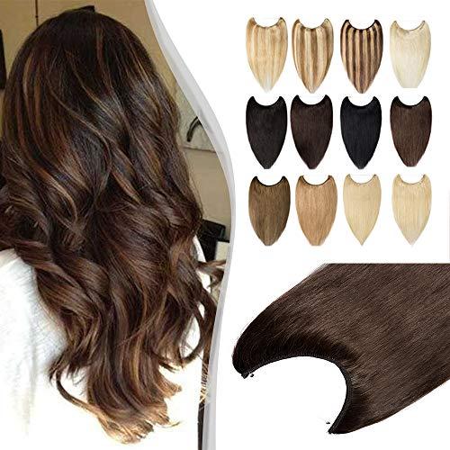 Elailite Extension con Filo Invisibile Capelli Veri 100% Remy Human Hair Fascia Unica senza Clip Standard Weft 40cm #4 Marrone Cioccolato 60g