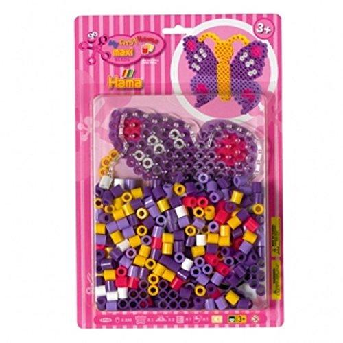 Hama 8908 - Maxiperlenset Schmetterling, ca. 250 Bügelperlen, eine Stiftplatte und ein Bügelpapier