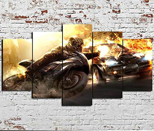 VYQDTNR - Canvas Wall Art Abstract Large Car Vs Bike Race Action Fire Pictures Modern Painting, Large Size Prints Framed 5 Panel Artwork for Living Room Bedroom Home Office Decor