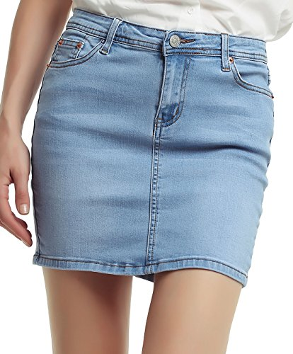 chouyatou Women's Casual Short Denim Skirt (Large, Light Blue)