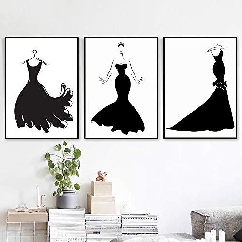 YDGG zwarte jurk schoonheid abstracte poster muurkunst canvas schilderij kleding studio decor schilderij 50 x 70 cm x 3 st. Geen lijst