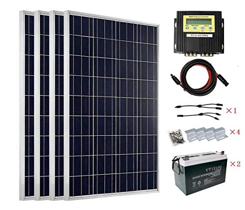 ECO-WORTHY 400 W Solarpanel-Set für 12 V und 24 V Akku-Ladegerät: 4 x 100 W Solarpanel + 20 A MPPT Laderegler + Solarkabel Adapter + Z-Halterungen + 200 Ah AGM Deep Cycle Gruppe 27 Akku