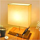 Touch Bedside Lamps for Bedrooms, Linen Table Lamp with 2 Fast USB Charging Ports, 3 Way Dimmable Modern Nightstand Lamp, LED Bedside Light with Square Fabric Shade for Childrens (LED Bulb Included)