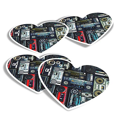 Pegatinas de vinilo con forma de corazón (juego de 4) – Radios reproductor de cassette Retro Music Fun calcomanías para portátiles, tabletas, equipaje, reserva de chatarra, neveras #14242