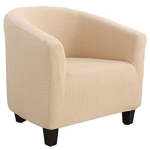 HIFUAR Chesterfield - Funda elástica para sillón de cóctel, 1 plaza, lavable, antideslizante, para bar, salón, dormitorio, recepción (Jacquard/amarillo claro)